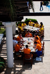 The Dutch and Lithuanian teams enjoy lunch in formation.